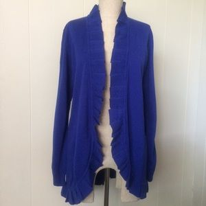 Royal Blue Pleated Open Cardigan